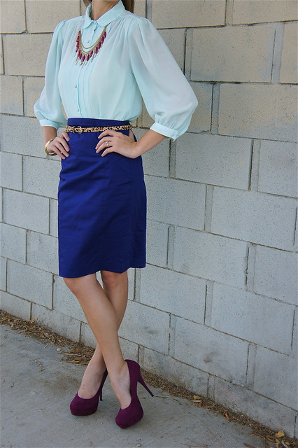 Blue outfit with blouse and skirt