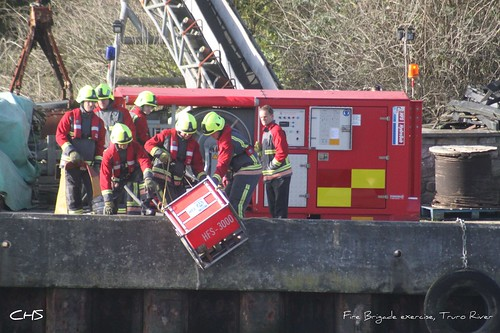 Fire Brigade exercise, Truro River  (2) by Stocker Images