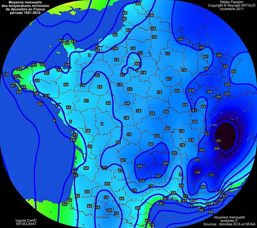 Moyennes mensuelles des températures minimales pour le mois de décembre en France sur la période 1981-2010