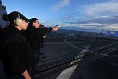 Sailors qual on flight deck.