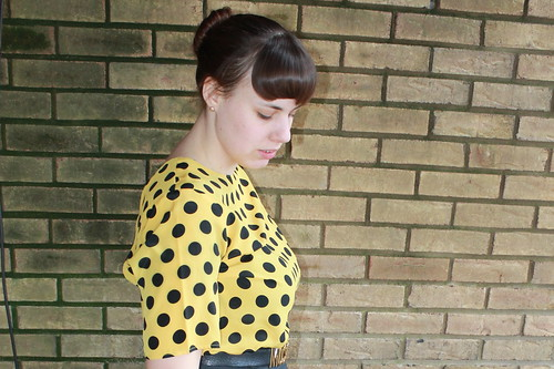 Black and yellow outfit: thrifted blouse, The Limited A-line skirt, wool tights, Modcloth quilted flats, snake bracelet