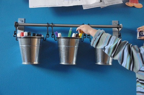 ikea buckets on wall