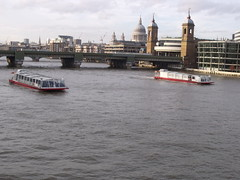 Cannon Street Railway Bridge - River Thames from London Bridge - Bateaux London river cruise boats