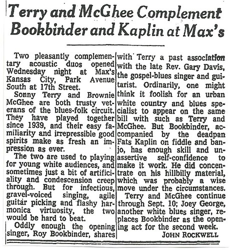 09-02-73 NYT Review - Terry-McGhee @ Max's Kansas City
