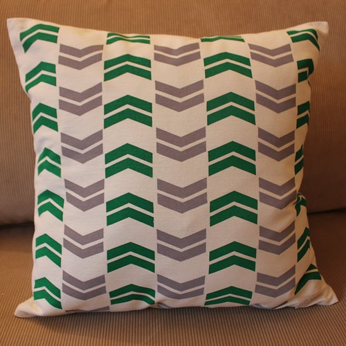 chevron cushion - screen printed
