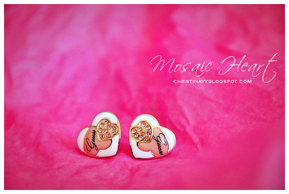 GUESS Mosaic Heart Stud Earrings (Rose Gold)