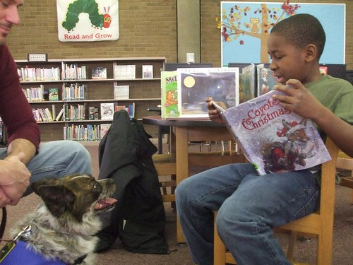 kids read to dogs! PAWS to Read at the Light Street Branch Library by Enoch Pratt Free Library