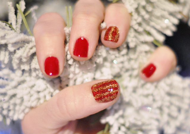 red and gold  glitter  striped nails- holiday manicure