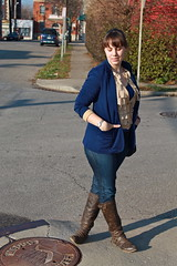 Moving day outfit: gap jeans, leather boots, vintage blazer, vintage silk and lace camisole, vintage Chanel bag, New York and co. ruffled cardigan