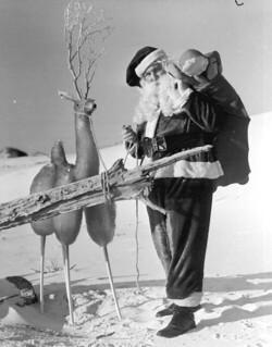 Santa Claus with reindeer at the beach: Panama City Beach, Florida
