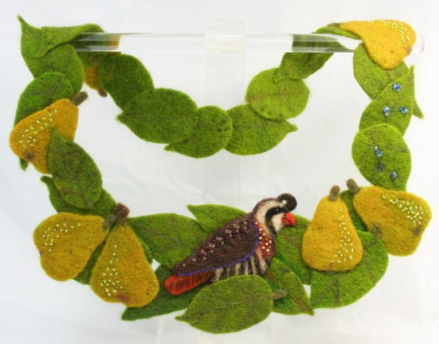 Needle Felted Partridge in a Pear Tree Necklace