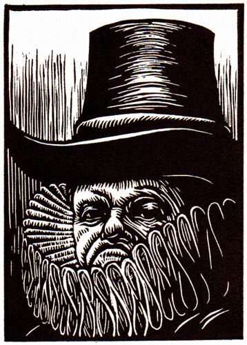 "linocut for ""Our Rarer Monsters"" (Polonius) by Marc Snyder"