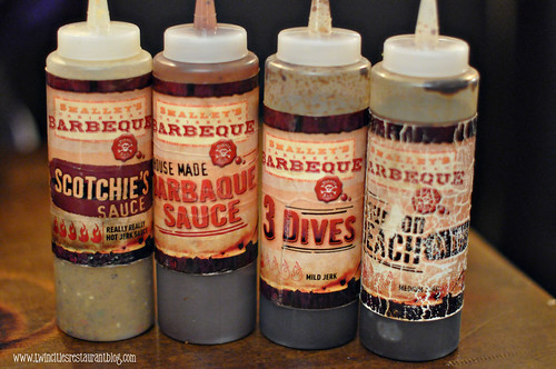Barbeque Sauce Selection at Smalley's Caribbean Barbeque ~ Stillwater, Mn