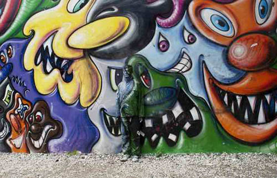 Street art by Liu Bolin, photo via Wooster Collective