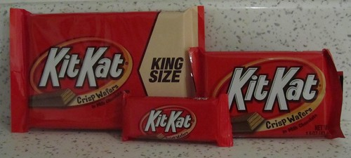 Kit Kats in many sizes (USA)