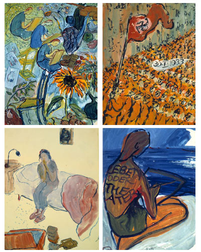 four paintings. The upper left is of a red flower, the upper right is of a Nazi rally, the lower left is of a woman on a bed, and the lower left is of a woman kneeling on the beach
