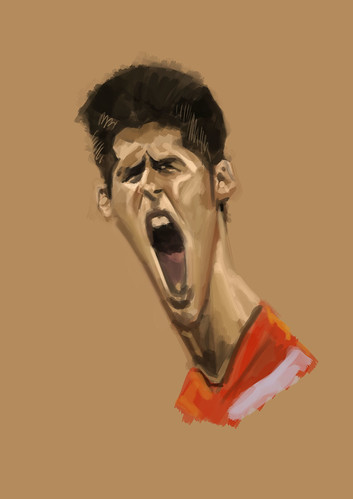 digital caricature of Novak Djokovic - 1
