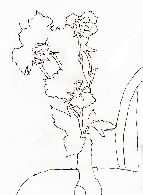 Contour Line Drawing App : Contour drawing of flowers in beer bottle edited