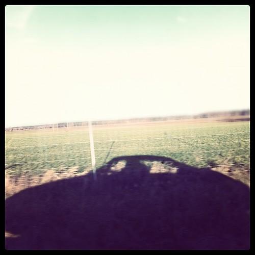 """Jag åker """"padda"""" med svärfar genom ett mer vårlikt december-landskap.."""