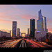 Sunset at La Defense, Paris by Popeyee