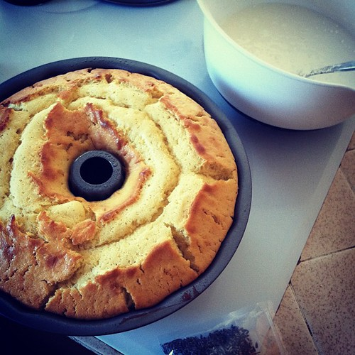 Nom! Lavender lemon bundt cake out of the oven- now its my turn to get ready