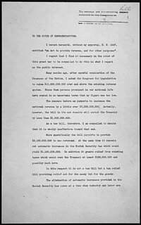 Veto message of President Franklin D. Roosevelt to the House of Representatives returning H.R. 3687, 02/22/1944