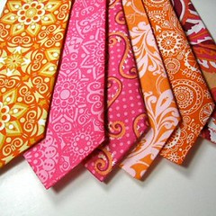 Orange and hot pink ties