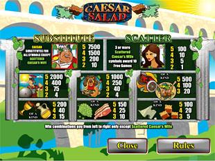 free Caesar Salad slot payout