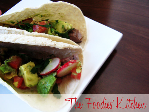 Beef Tacos with Radish & Avocado Salsa