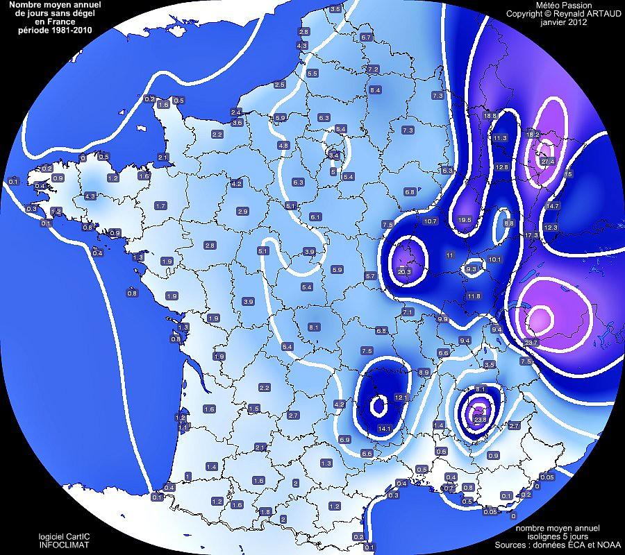 nombre moyen annuel de jours sans dégel ou avec gel permanent en France pour la période 1981-2010
