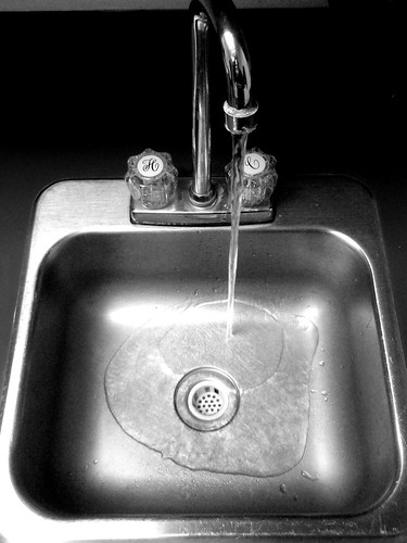 running water and sink
