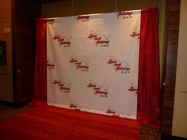 Wedding Custom Backdrop With Red Drapes And Red Carpet For