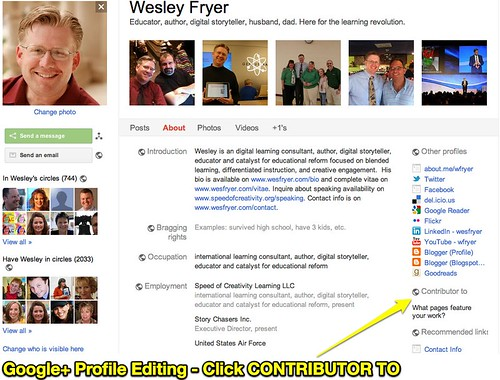 Google+ Profile Editing - Click CONTRIBUTOR TO