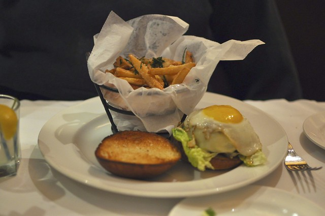 Wagyu beef burger with truffle fries
