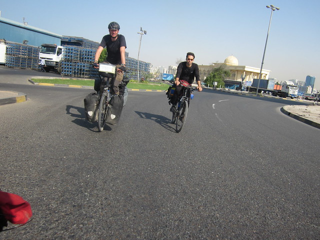 Moussa and Marek cycling through Sharjah