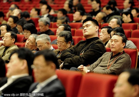 January 13th, 2012 - Yao Ming sits in an assembly with other members who are falling asleep