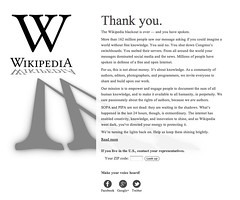 Wikipedia Thank You re SOPA and PIPA protest