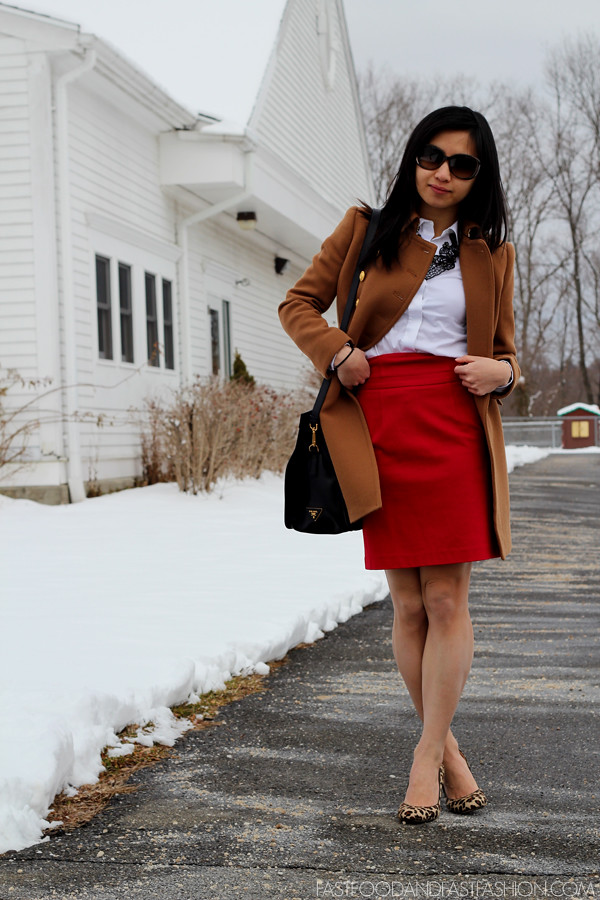 red theory skirt j crew townhouse trench heather caramel ann taylor leopard shoes