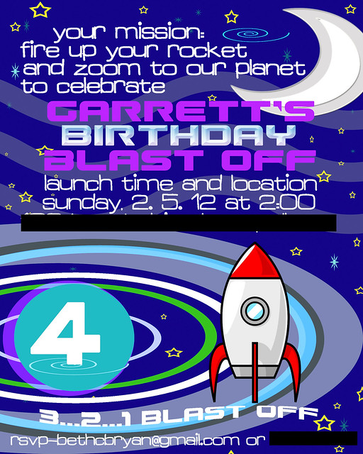 Garrett 4th Birthday invite for blog