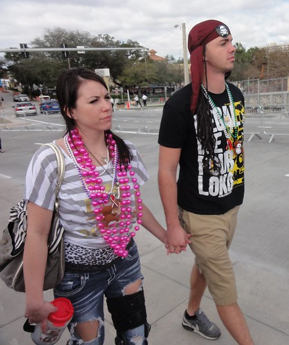 Beads and ripped jeans for Gasparilla