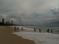 The view from Burleigh towards Surfers as the tides recede