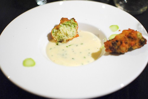 potato puree, cheddar, broccoli cheddar fritter
