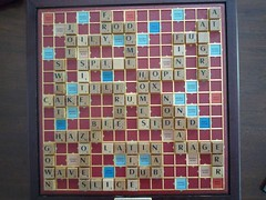 A Scrabble board covered in words