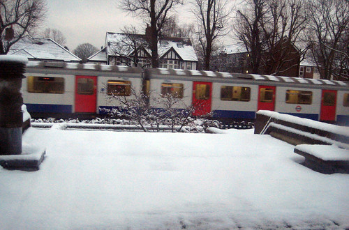 View of Tube in Snow from my study window - 5th February 2012