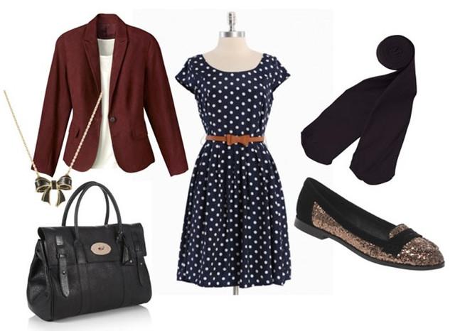 polka dot dress glitter flats alexa vintage fashion