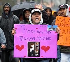 "Tamara Taylor-Schenck of Plainfield ""Hoodie March"" protesting death of Trayvon Martin"