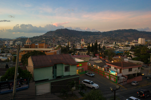Sunset in Tegucigalpa, Honduras at Cafemania