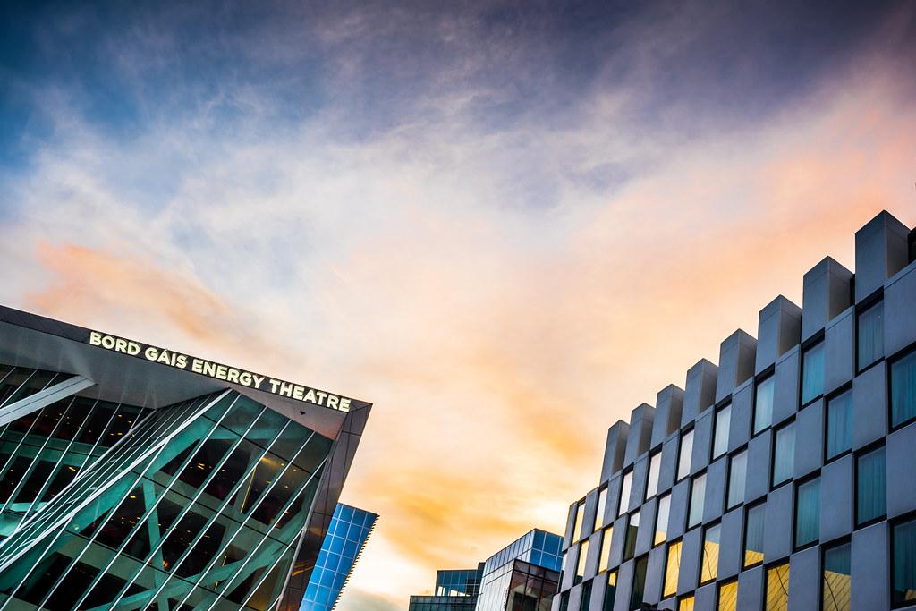 Sunset over Bord Gais Energy theatre, Dublin, Ireland picture