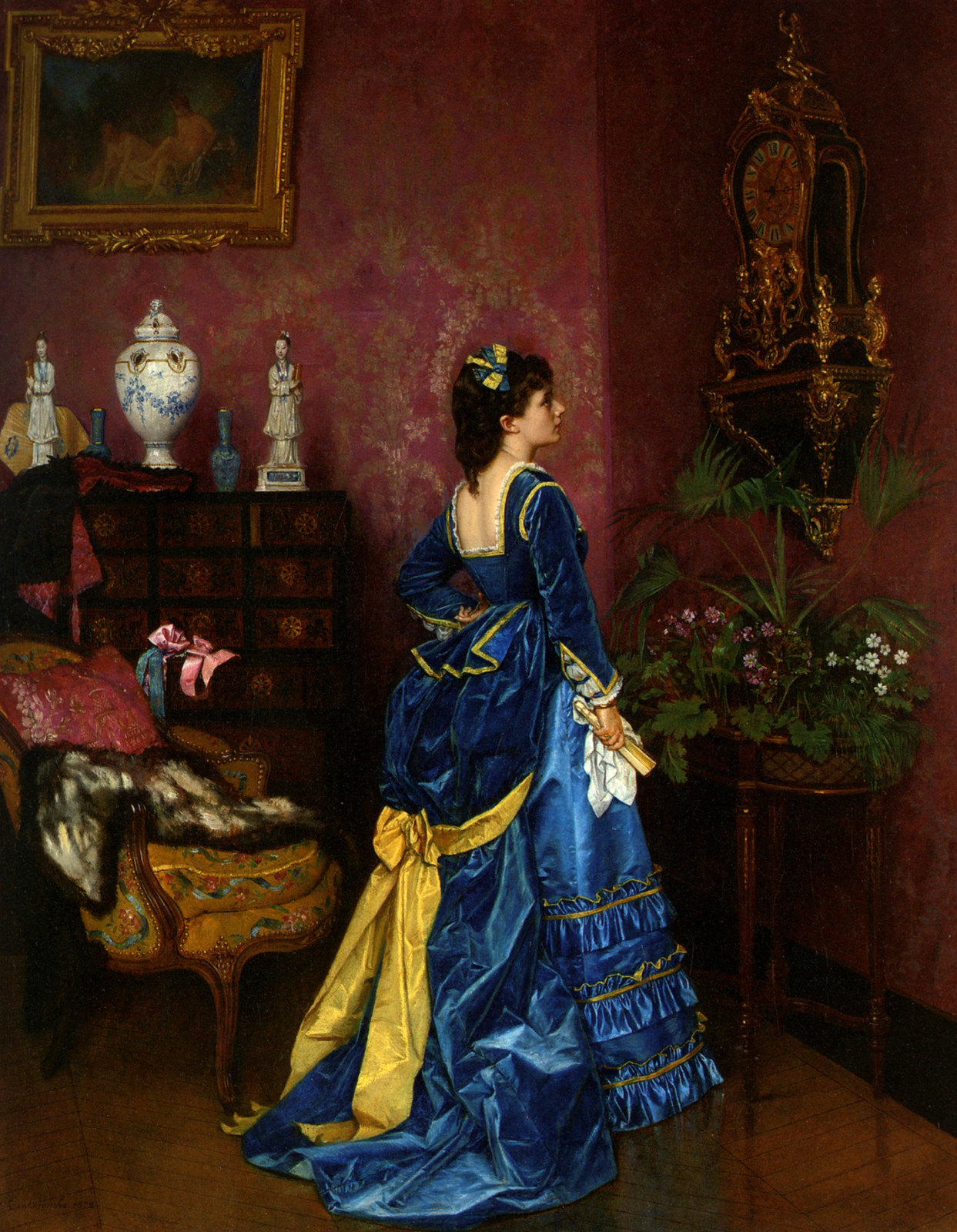 The Blue Dress by Auguste Toulmouche, 1870