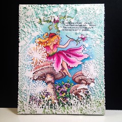 Stampendous Fairy Friend with Hero Arts Dandelion Frame white embossed on an acetate overlay.